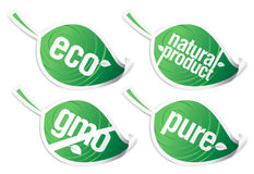 Ecology product stickers, GMO free. Royalty Free Stock Image
