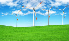 Ecology Project. Wind turbine farm over blue sky Vector Illustration