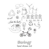Ecology and recycle doodle icons set Royalty Free Stock Images