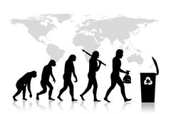Ecology - Recycle evolution. Human and Ecology evolution with map of earth, background Stock Images