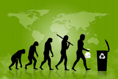 Ecology - Recycle evolution. Human and Ecology evolution with map of earth, background Royalty Free Stock Photo