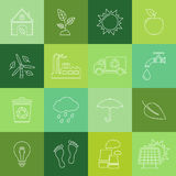 Ecology and recycle icon set. Thin line icons set of ecology and recycle . Vector illustration stock illustration
