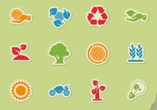 Ecology and recycle icons. Ecology and recycle symbols  icon set Royalty Free Stock Photos