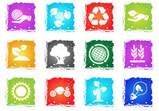 Ecology and recycle icons. Ecology and recycle symbols vector icon set in grunge style for user interface design Stock Images