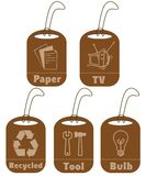 Ecology and recycle tags for environmental design Royalty Free Stock Images