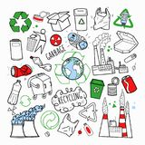 Ecology and Recycling Industry Hand Drawn Doodle. Environmental, Energy, Pollution vector illustration