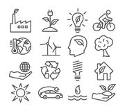 Ecology and Recycling line icons Stock Images