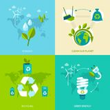 Ecology and recycling set Royalty Free Stock Images