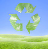 Ecology recycling symbol. Concept of ecology on a beautiful blue and green background. Fresh vector illustration