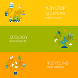 Ecology recycling waste cleaning flat web banners template set. Flat ecology, recycling waste, cleaning concept. Vector icon banners template set. Process of Royalty Free Stock Photography