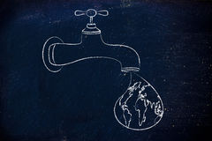 Ecology and saving water: the world in a droplet from the tap Royalty Free Stock Image