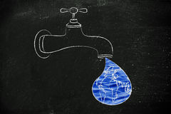 Ecology and saving water: the world in a droplet from the tap (w. Planet earth in a droplet from the tap (with ocean fill), illustration about respecting natural Stock Photos