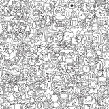 Ecology seamless pattern in black and white Royalty Free Stock Photo