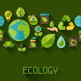 Ecology seamless pattern with environment icons. Royalty Free Stock Image
