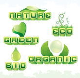 Ecology set. Vector set of green ecology headers-symbos-text vector illustration