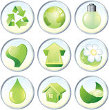Ecology set. Illustration of Beauty green ecology symbols Royalty Free Stock Photo