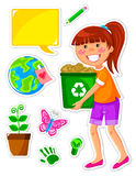 Ecology set. Set of icons related to ecology and a girl recycling paper Royalty Free Stock Images