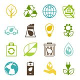 Ecology set of environment and pollution icons. Stock Photography