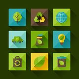 Ecology set of environment and pollution icons. Royalty Free Stock Photos
