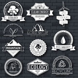Ecology set label template of emblem element for your product or design, web and mobile applications with text. Vector Royalty Free Stock Images