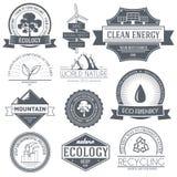 Ecology set label template of emblem element for Stock Photos
