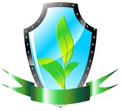 Ecology shield vector Royalty Free Stock Photography