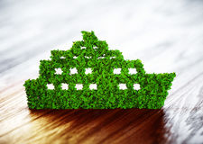 Ecology ship concept. 3D illustration on wooden background Royalty Free Stock Photos