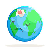 Ecology Sick Sad Suffer Emotion Nature Earth Globe Character Icon  Royalty Free Stock Images