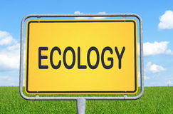 Ecology sign in the countryside Royalty Free Stock Image