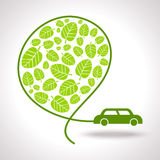 Ecology signs and icons with car Royalty Free Stock Images