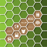 Ecology signs and symbols on a comb background. Royalty Free Stock Image