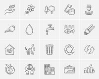Ecology sketch icon set. Stock Photos