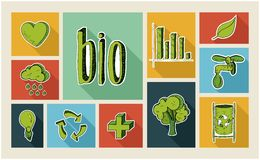 Ecology sketch style flat icon set Stock Image