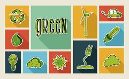Ecology sketch style flat icon set Stock Photos
