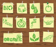 Ecology Sketchy Icons On Wooden Board Set2 Royalty Free Stock Image