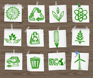 Ecology sketchy icons on wooden board set1 Stock Image
