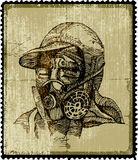 Ecology stamp. Human head with mask. Royalty Free Stock Image