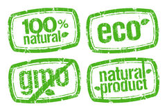 Ecology Stamps, GMO Free. Royalty Free Stock Photo