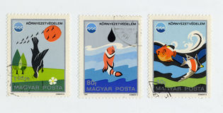 Ecology on stamps printed in Hungary in 1975 Royalty Free Stock Images
