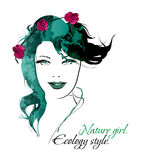 Ecology style. Beauty girl face Royalty Free Stock Photo
