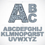 Ecology style blue flowery font, vector typeset made using natur Stock Images