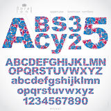 Ecology style flowery font and numbers, vector typeset made usin Stock Photos