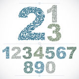 Ecology style flowery numbers, blue vector numeration made using Stock Photography