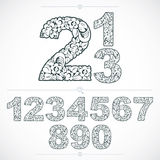 Ecology style flowery numbers, vector numeration made using natu Royalty Free Stock Image