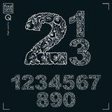 Ecology style flowery numbers, vector numeration  Royalty Free Stock Images