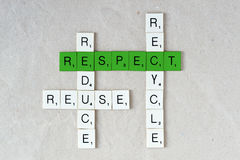 Ecology and sustainability: recycle, reduce, reuse and respect. Ecology: recycle, reduce, reuse and respect royalty free stock photo
