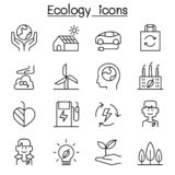 Ecology, Sustainable design, conservation, eco friendly design icon set in thin line style. Vector illustration graphic design stock illustration