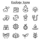Ecology & Sustainable lifestyle icon set in thin line style. Vector illustration graphic design Stock Photo