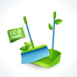 Ecology symbol dustpan and brush Stock Photos