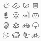 Ecology symbol line icon set Royalty Free Stock Photos